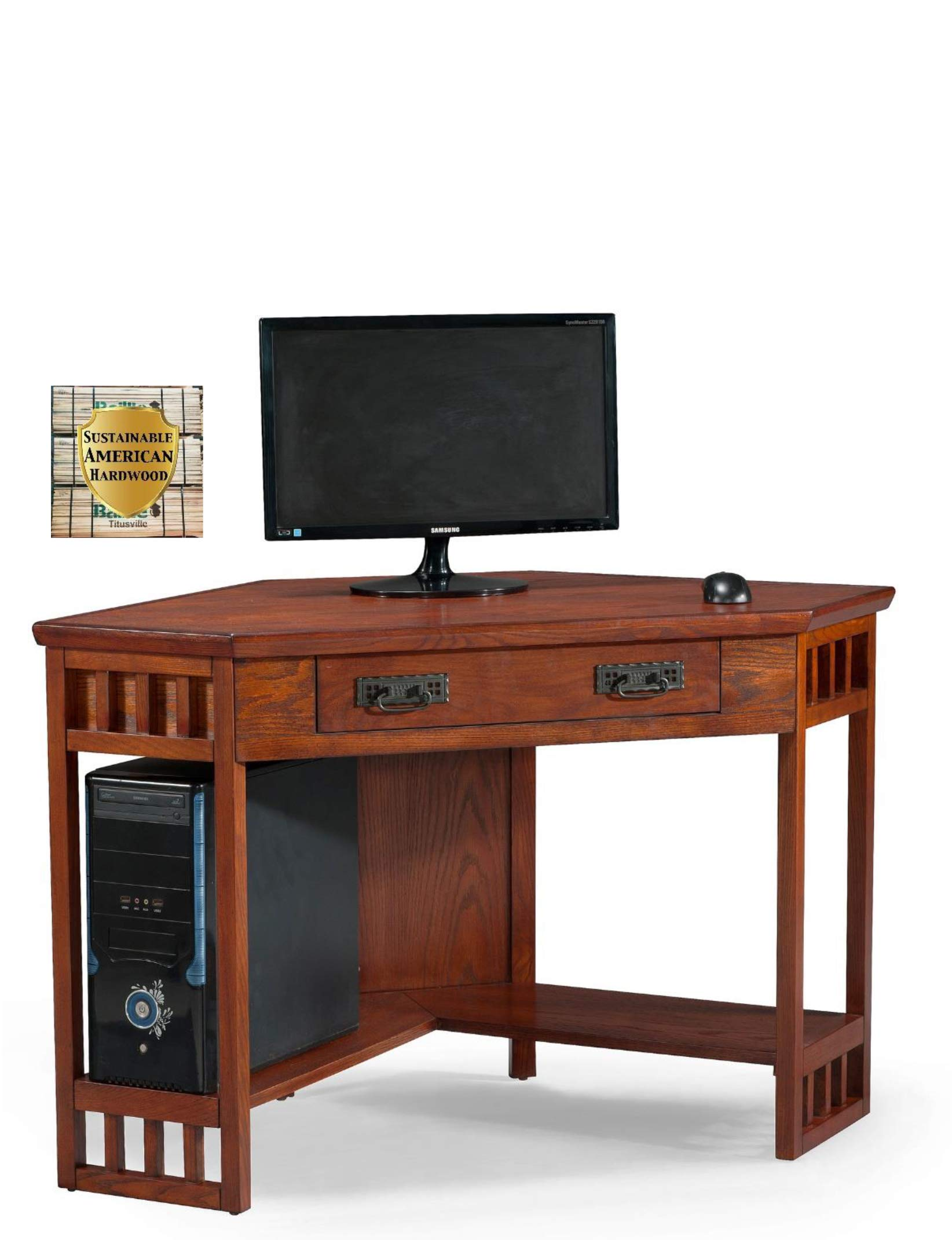Leick Corner Computer and Writing Desk, Mission Oak Finish by Leick Furniture