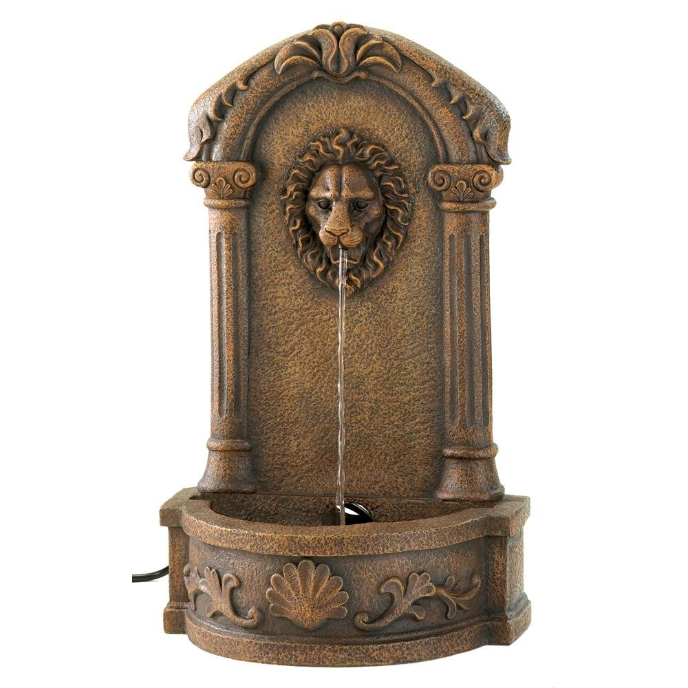 Outdoor Water Fountain, Faux Stone Lion Head Wall Fountain For Backyard Cascading Fountains