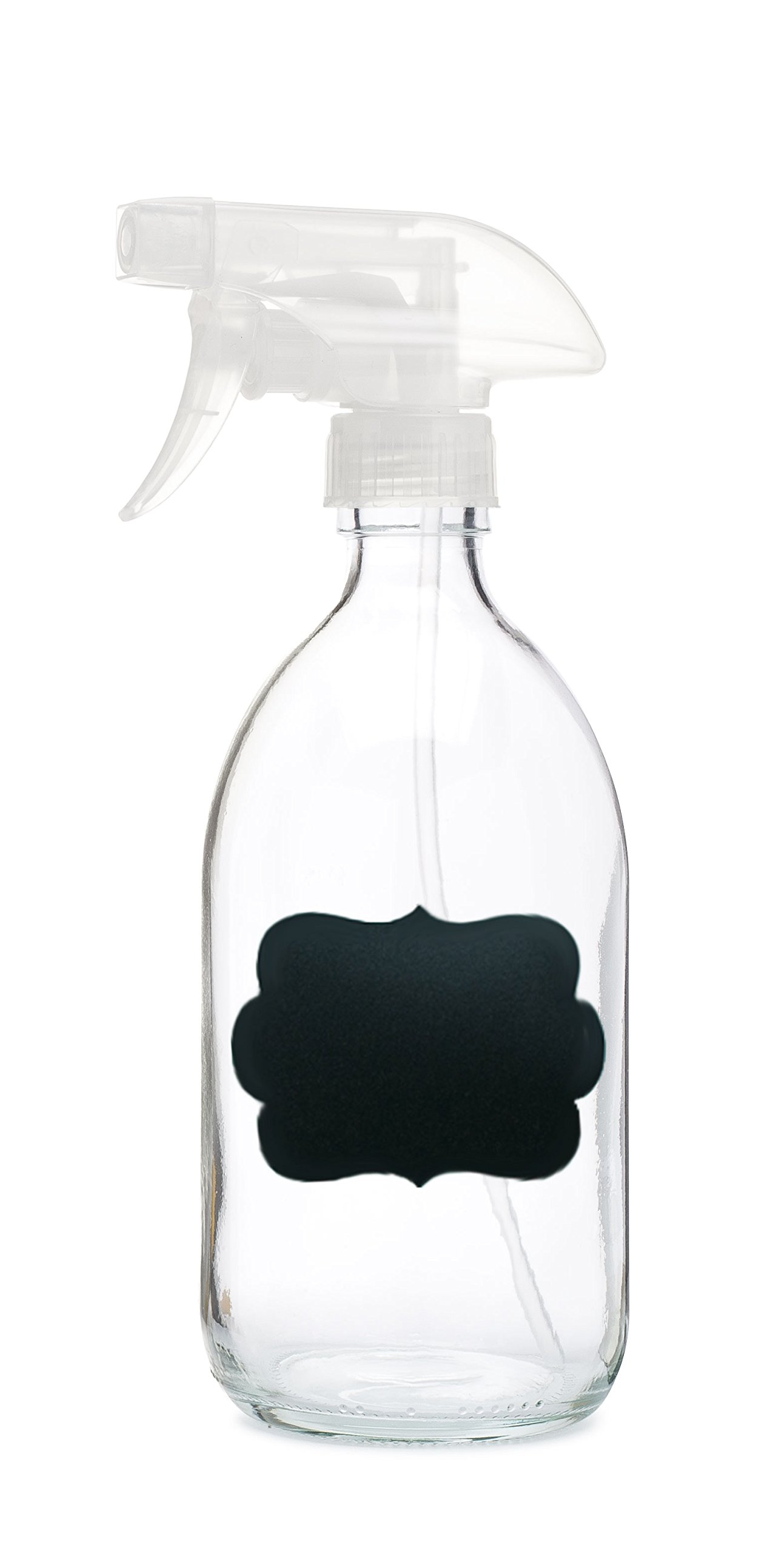 Savon Glass Spray Bottle w/Chalkboard Label Clear Trigger - Refillable Container Great for Beauty, Aromatherapy - Features Durable Clear Trigger Sprayer w/Spray and Stream Nozzle Settings