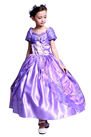 ca6805eb11f60 (eones)ラプンツェル風 ドレス 4層構造 ふんわり 子供用 ロングドレス 花冠 セット