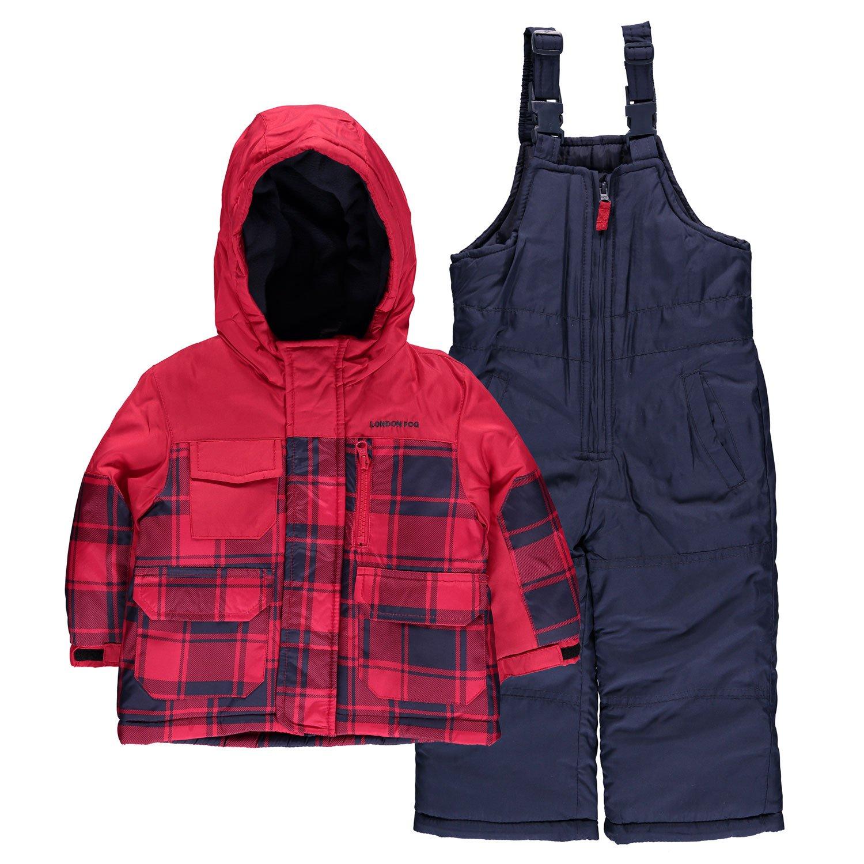 London Fog Baby Boys' Plaid Snowsuit Red) L2156S73
