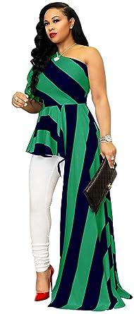 548e23e13d0 Kearia Women Sexy Striped One Shoulder High Low Irregular Tunic Tops Blouse  Shirt Maxi Dress Green