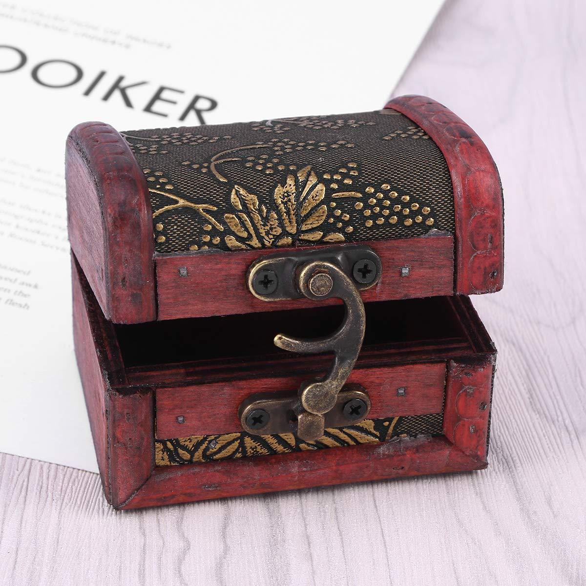 Vosarea Caja de Almacenamiento de joyería de Escritorio del Cofre del Tesoro de Madera Vintage Misceláneas Organizador Caja contenedor (UVA Dorada): ...