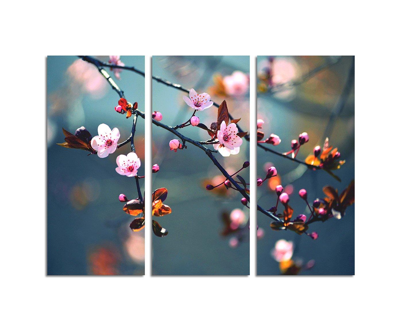 130x90cm – KUNSTDRUCK wunderschöne japanische Kirschblüte Frühling 3teiliges Wandbild auf Leinwand und Keilrahmen - Fotobild Kunstdruck Artprint Paul Sinus Art