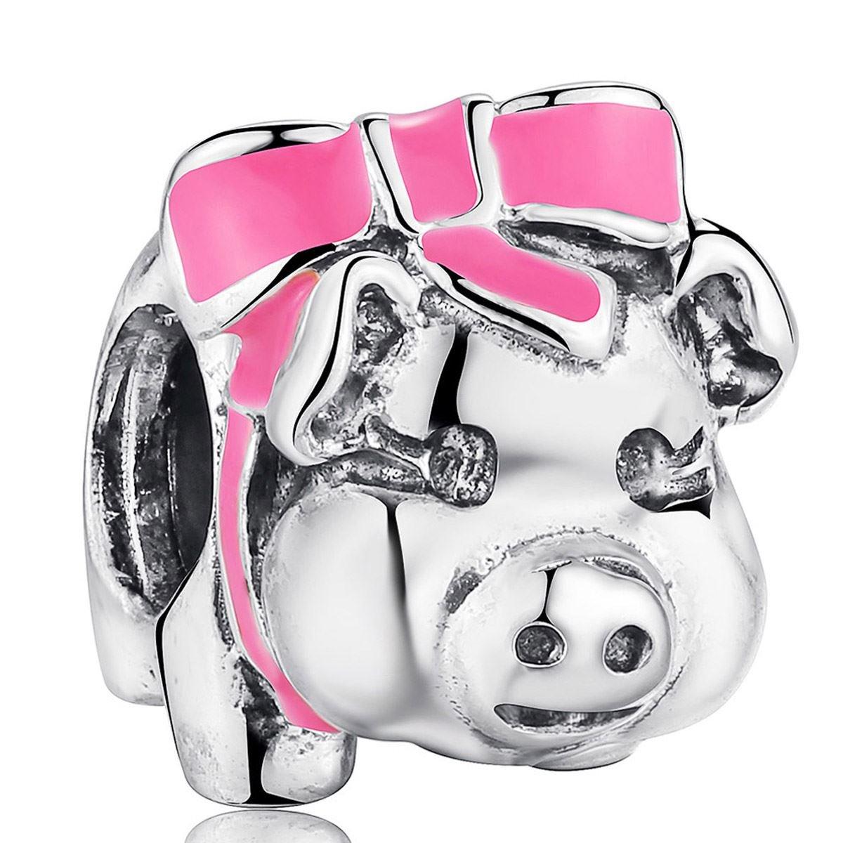 925 Sterling Silver Charms Pink Enamel Piggy Bank European Charm Fit Snake Chain Bracelet Fine Jewelry Making