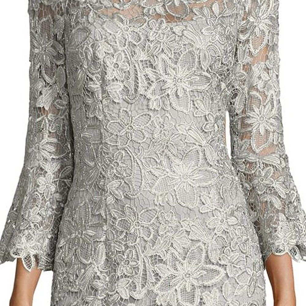 Teri Jon Lace Bell Sleeve Evening Gown Dress at Amazon Womens Clothing store: