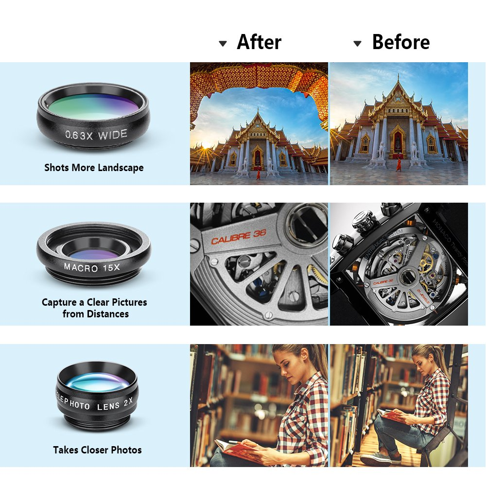 Yimaler Cell Phone Camera Lens Kit, 10 in 1 Micro Camera Lens for iPhone/Android Phone/Tablet/Laptop Included 0.63X Wide Angle Lens+15X Marco Lens+198° Fisheye Lens+2X Telephoto Lens+CPL/Flow/Radial/S by Yimaler (Image #4)