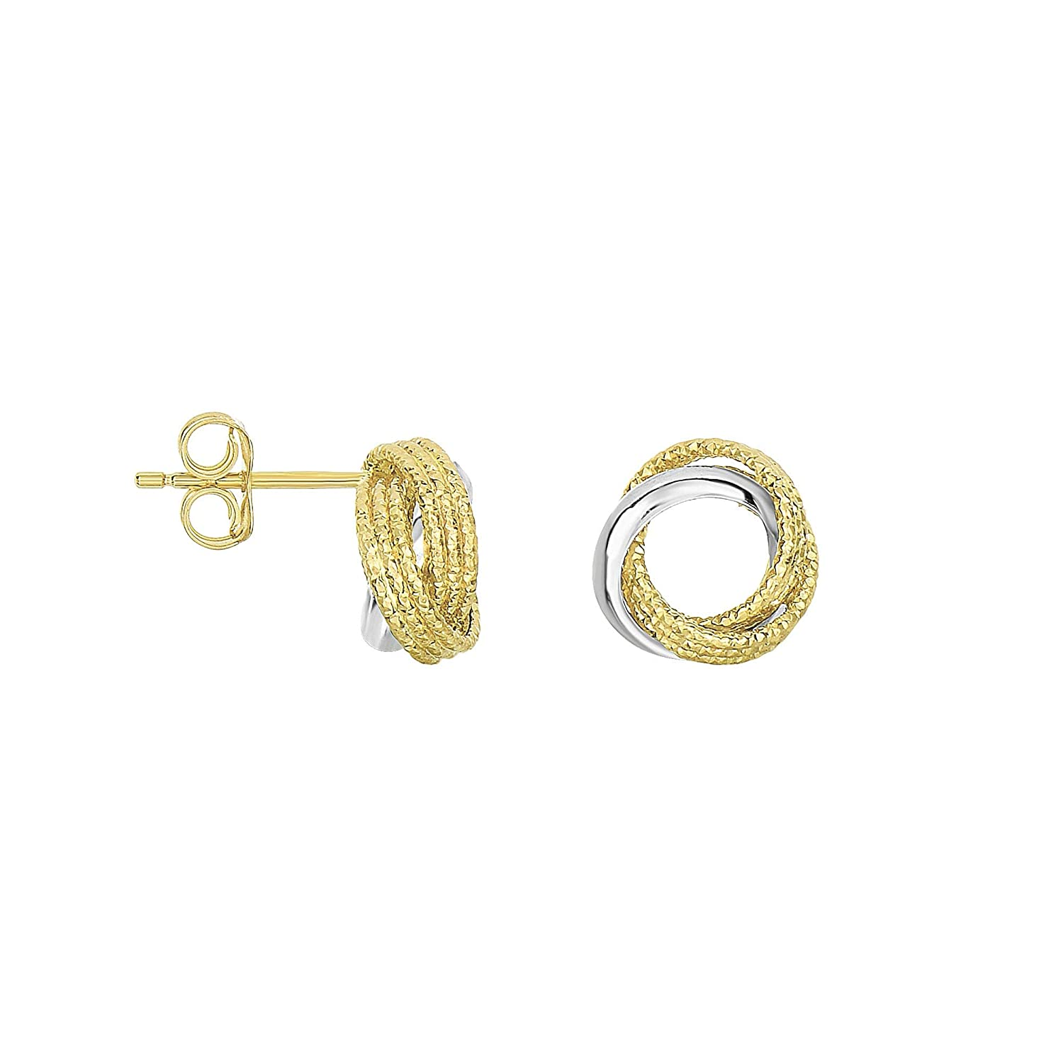 14K Yellow /& White Gold 10.1mm Shiny 3 Circle Swirl Patterned Post Earrings Push Back by IcedTime