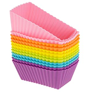 Freshware Silicone Cupcake Liners/Baking Cups - 12-Pack Muffin Molds, Rectangle, Six Vibrant Colors
