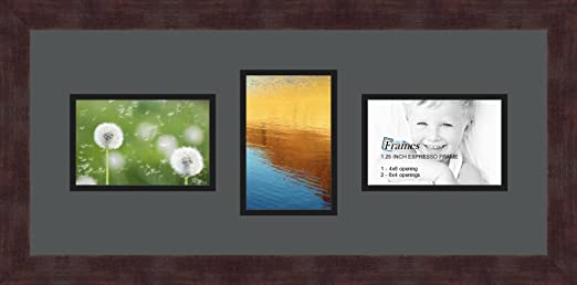 Art to Frames Double-Multimat-211-41//89-FRBW26061 Collage Frame Photo Mat Double Mat with 3-4x6 Openings and Espresso Frame