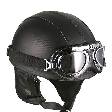 Gafas de piel Vintage de estilo alemán de la mitad 1/2 casco motocicleta Biker Cruiser Casco de para patinete Touring