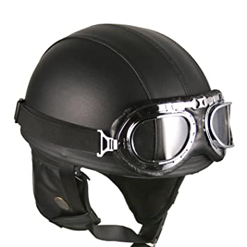 Cascos abiertos Moto Cuero Half-Helmet goggle negro