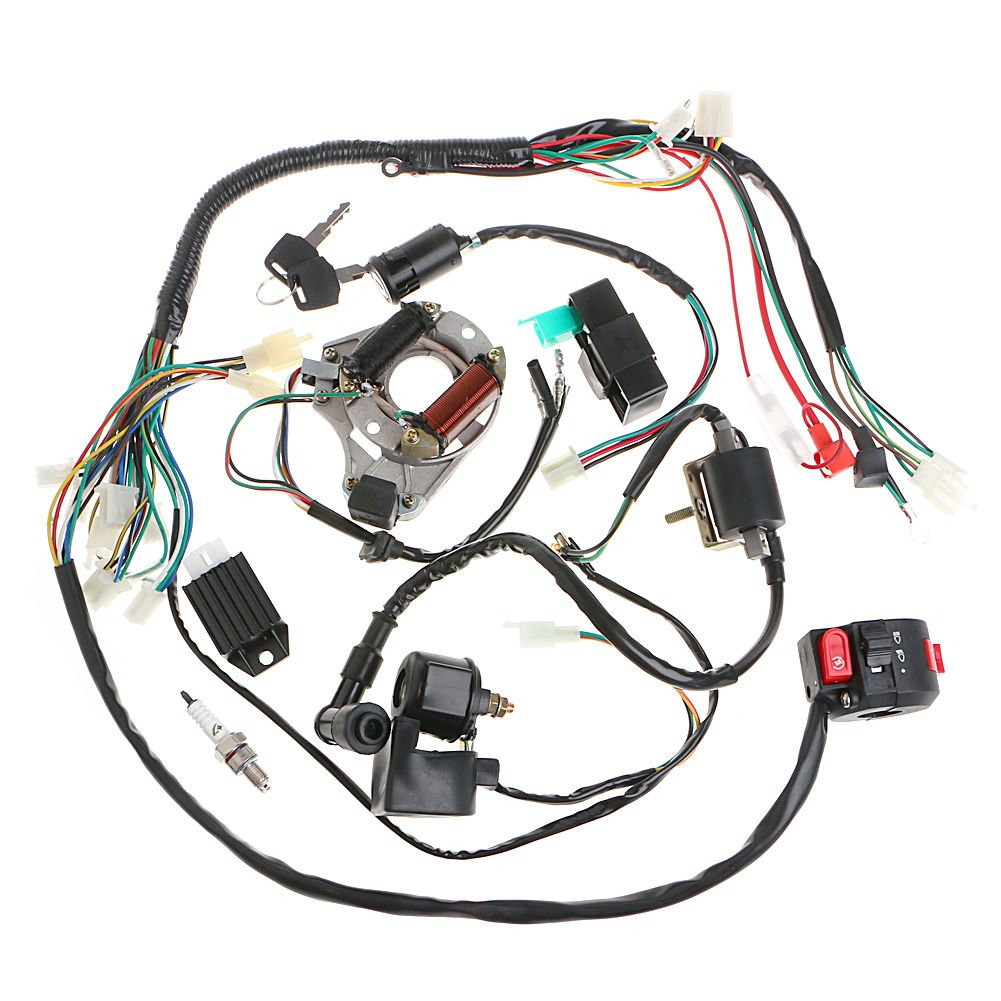 Minireen Full Wiring Harness Loom Kit Cdi Coil Magneto Engine Diagram In Addition Roketa 250cc Go Kart Kick Start For 50cc 70cc 90cc 110cc 125cc Atv Quad Bike Buggy Pit Dirt