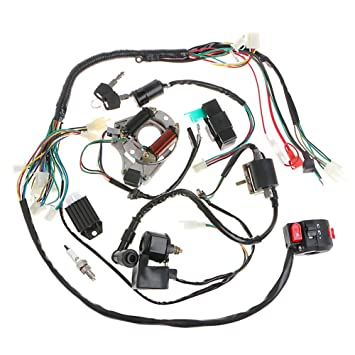 71Ti%2B4KmekL._SY355_ amazon com minireen full wiring harness loom kit cdi coil magneto Wiring Harness Diagram at creativeand.co