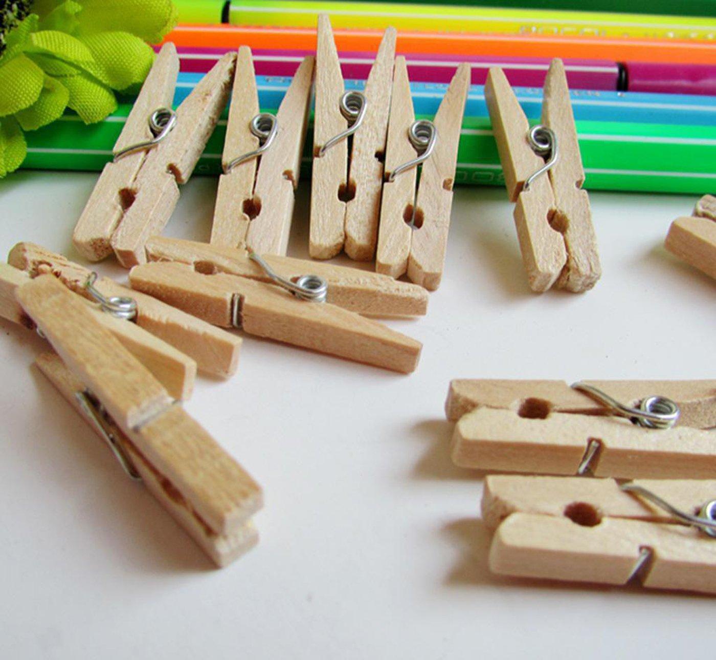 Holzfarbe Snner Mini-Holz-W/äscheklammern 1-Pack