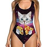 c3ae4648906d2 FULA-bao Women Sexy High Cut Vintage One Piece Swimsuit Printed Funny Bathing  Suit Monokini