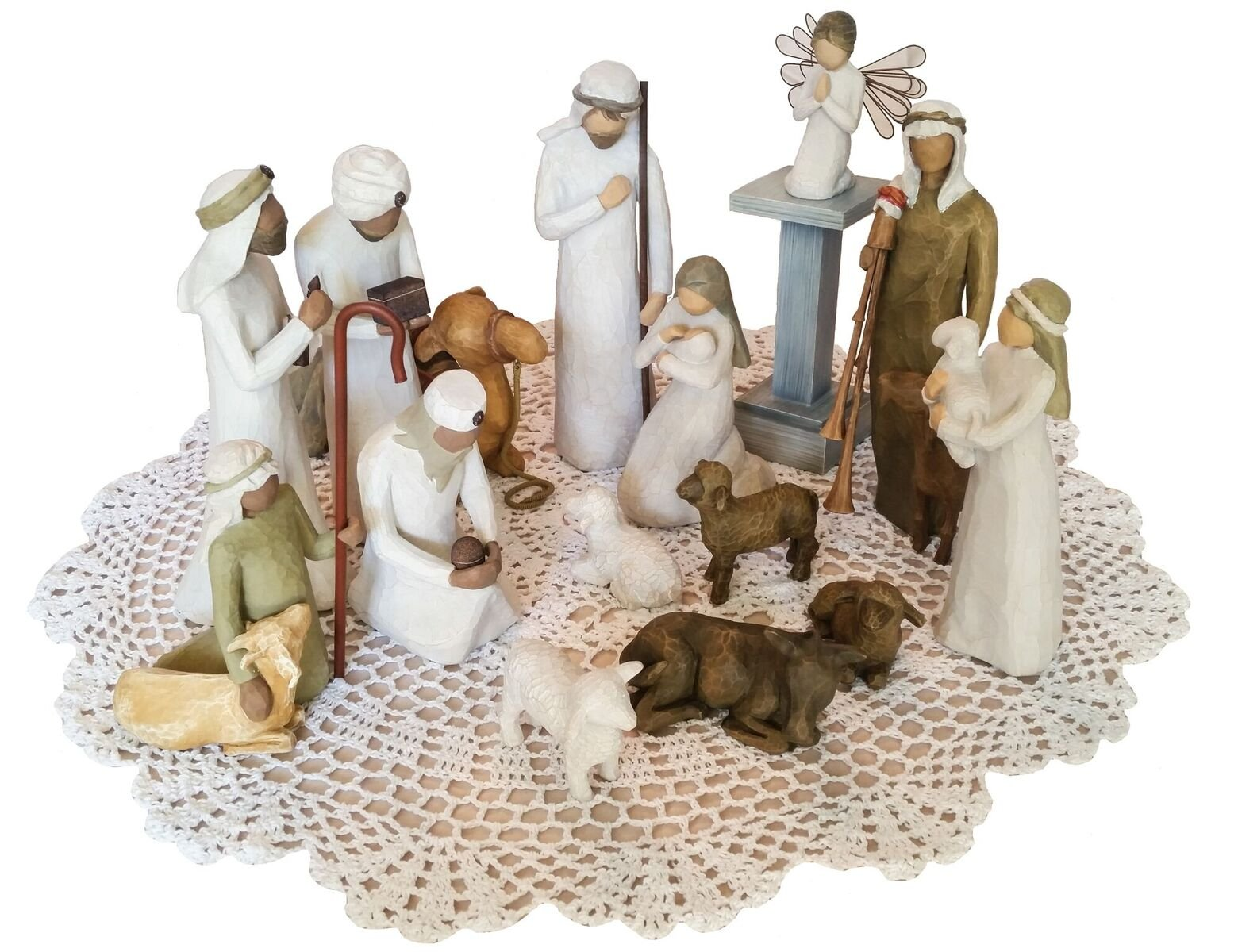 Willow Tree Christmas Themed Figurines with Westbraid Doily (Nativity Scene Bundle)