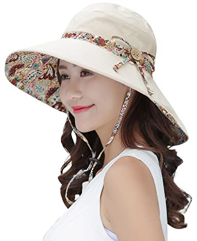 aeb432970b6 HindaWi Sun Hats For Women Wide Brim UV Protection Foldable Floppy Beach Hat