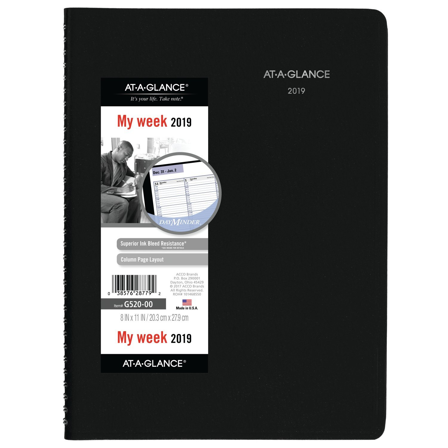 AT-A-GLANCE G52000-18 DayMinder Weekly Appointment Book / Planner, January 2019 - December 2019, 8'' x 11'', Black (G52000)