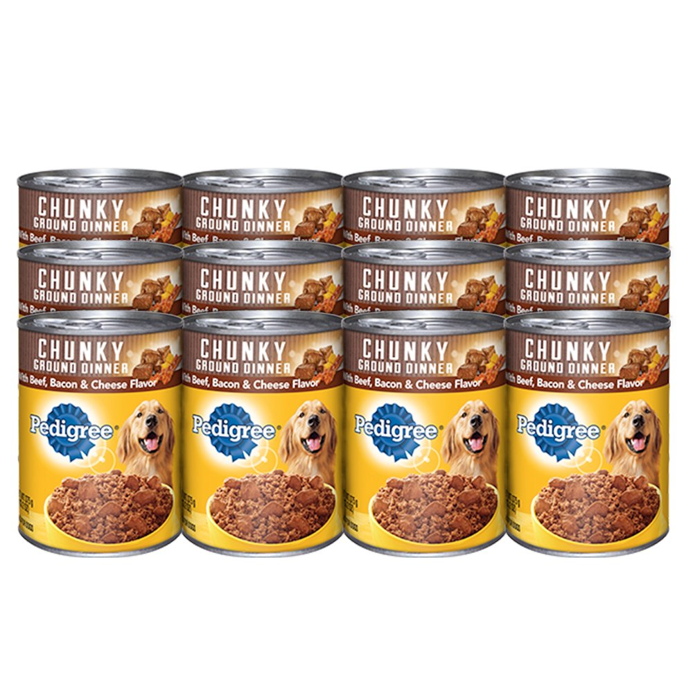 Pedigree Chunky Ground Dinner With Beef, Bacon & Cheese Canned Dog Food 22 oz. (Pack of 12)