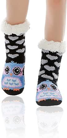 WOTENCE Mujer gruesos cachemira lana calcetines de piso, casa abrigados calcetines, antideslizantes cómodos cálidos lindos animales calcetines borrosos regalo de Navidad zapatillas calcetines
