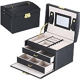 Goldwheat Jewelry Box with Lock and Mirror Lockable Travel Jewelry Organizer Gift for Women, Black