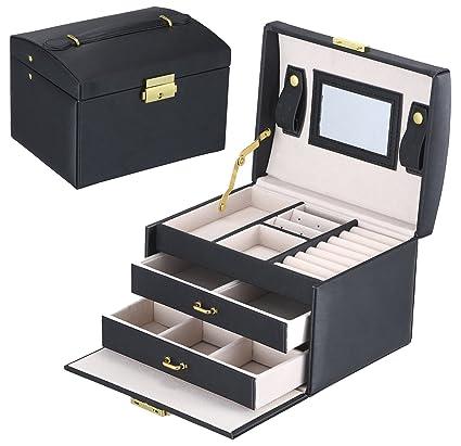 Amazoncom Goldwheat Jewelry Box with Lock and Mirror Lockable