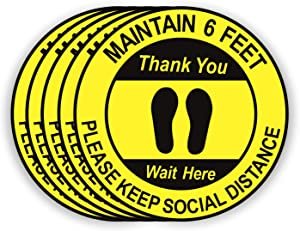 """Social Distancing Floor Decals - 12"""" Round Removable Stickers - 5 Pack Safety Floor Signs - Maintain 6 Feet Waterproof Apart Decal - Wait Here Sticker Markers for Grocery Pharmacy Bank Lab(Yellow)"""