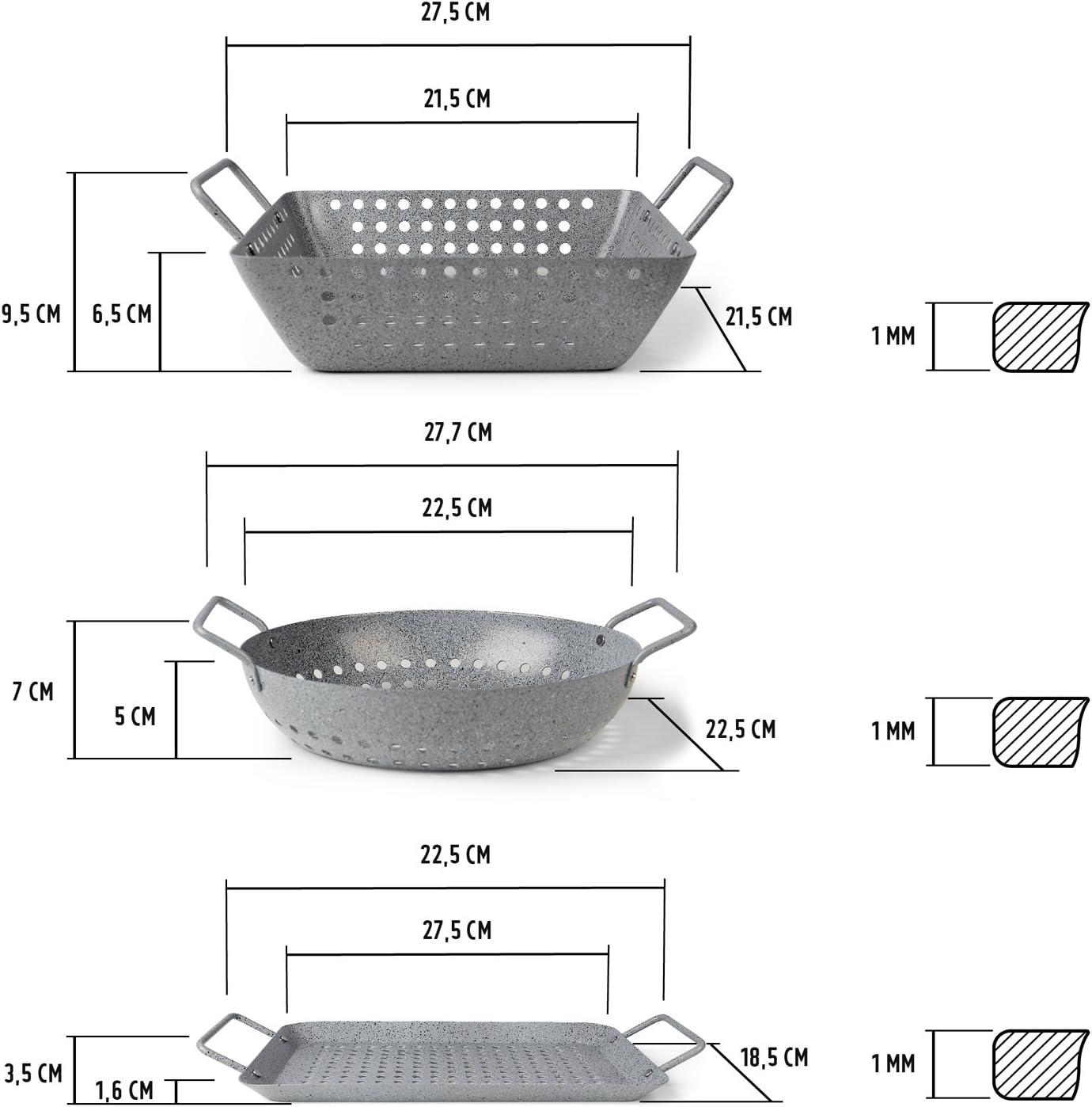 Grillkorb f/ür Gem/üse 27 x 22 x 10cm Fisch oder Meeresfr/üchte Grillpfanne in Steinoptik Rustler Grillschale quadratisch aus Eisenstahl mit Antihaftbeschichtung f/ür Backofen und alle Grills