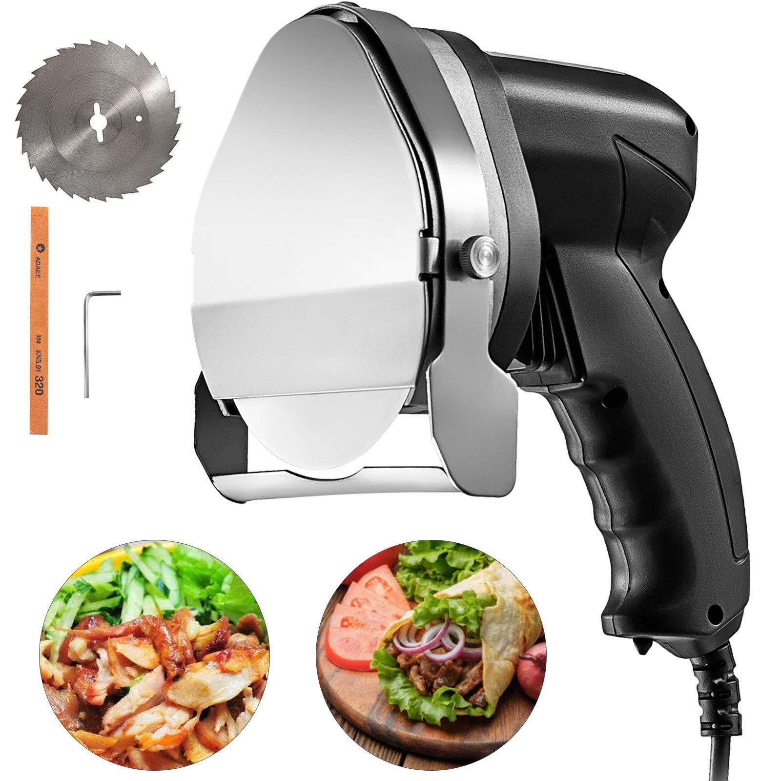 VBENLEM Electric Kebab Slicer 3.93'' Blade Electric Kebab Knife 80W Electric Meat Slicer Shaver 110V 2800 RPM With 2 Blades For Cutting Shawarma Doner Kebab