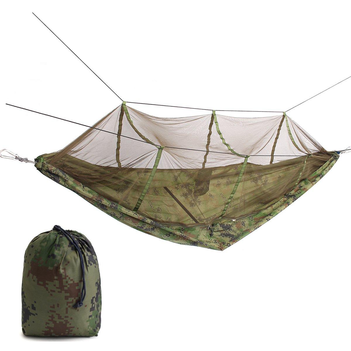 ランフィー ポータブルダブルパーソンハンモックスイング吊りナイロンベッド蚊帳と B07CWL297H