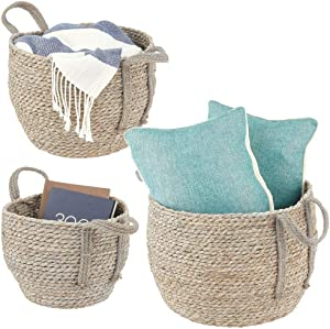 mDesign Round Woven Braided Rope Seagrass Home Storage Baskets, Jute Handles - for Organizing Closet, Bedroom, Bathroom, Living Room, Entryway, Office - Bins in Different Sizes - Set of 3 - Grey Wash