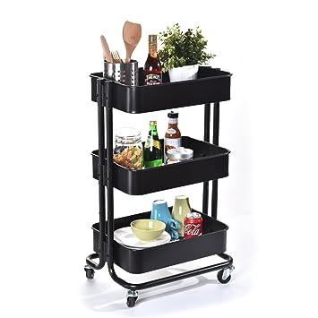 Storage Rolling Cart, Yu0026M 3   Tier Rolling Storage Utility Organization Cart,  Kitchen Wheeled