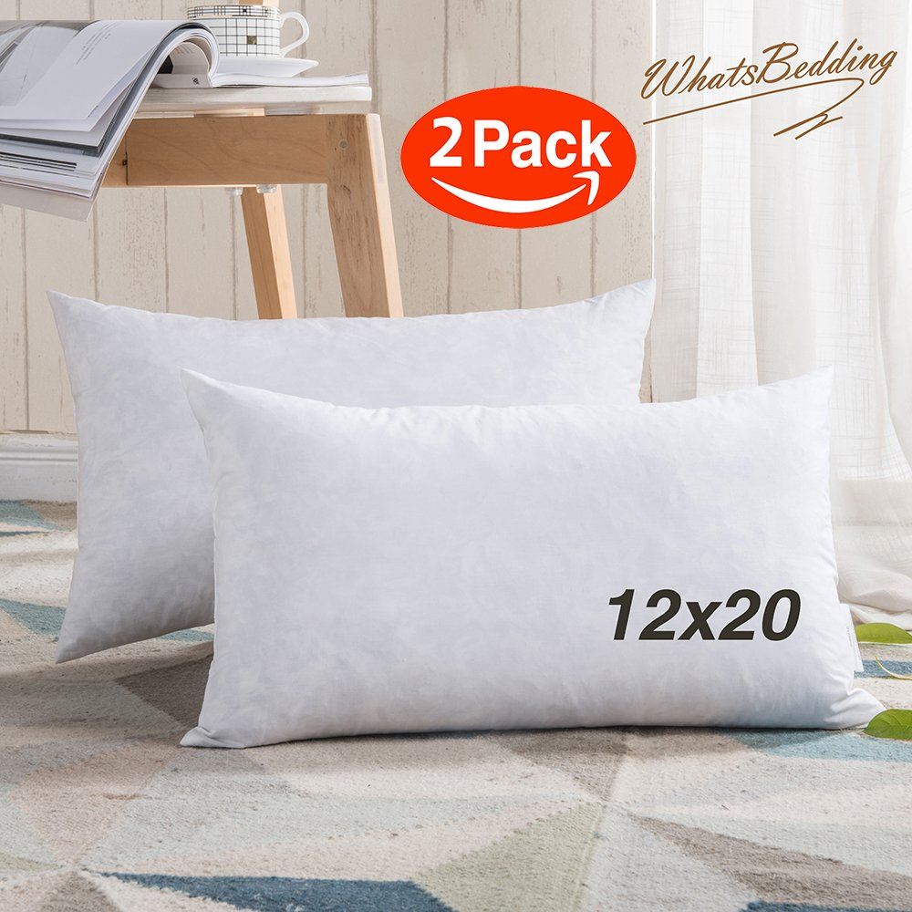 100% Cotton Throw Pillow Inserts - Sham Stuffer Filled with Down and Feather for Firm Sleepers - Rectangle Decorative Cushion Used for Sofa and Bed, Set of 2, White, 12''x20''