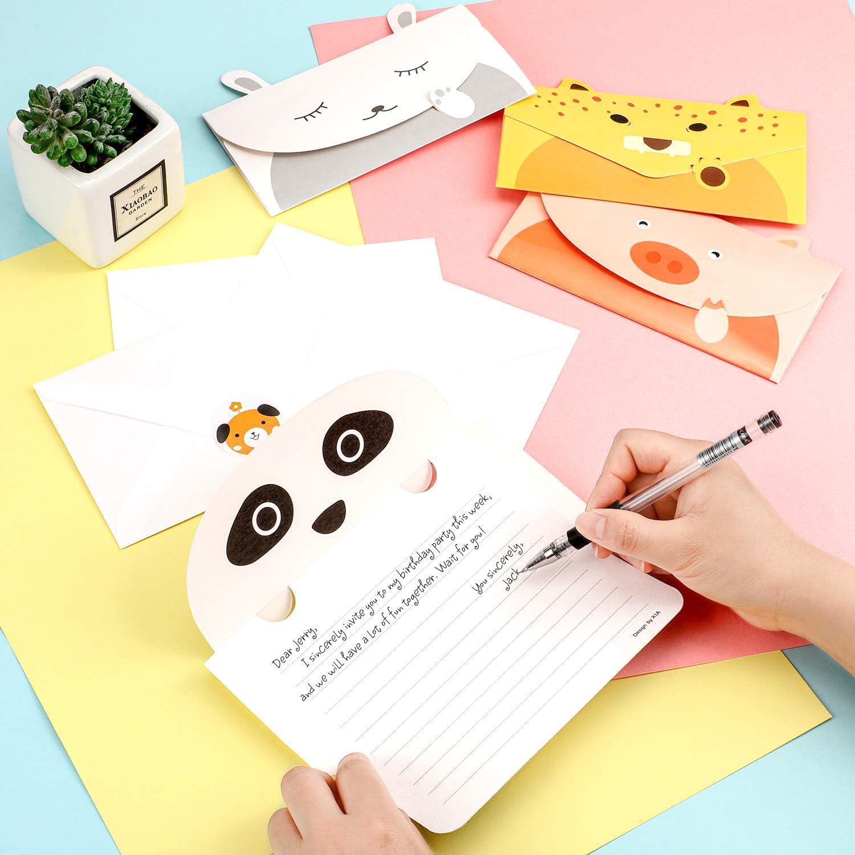 18 Pezzi Carta di Auguri Animali del Fumetto Biglietti dInvito Carini Carta da Lettere per Scrivere con 18 Pezzi Buste e 24 Pezzi Adesivi Animali