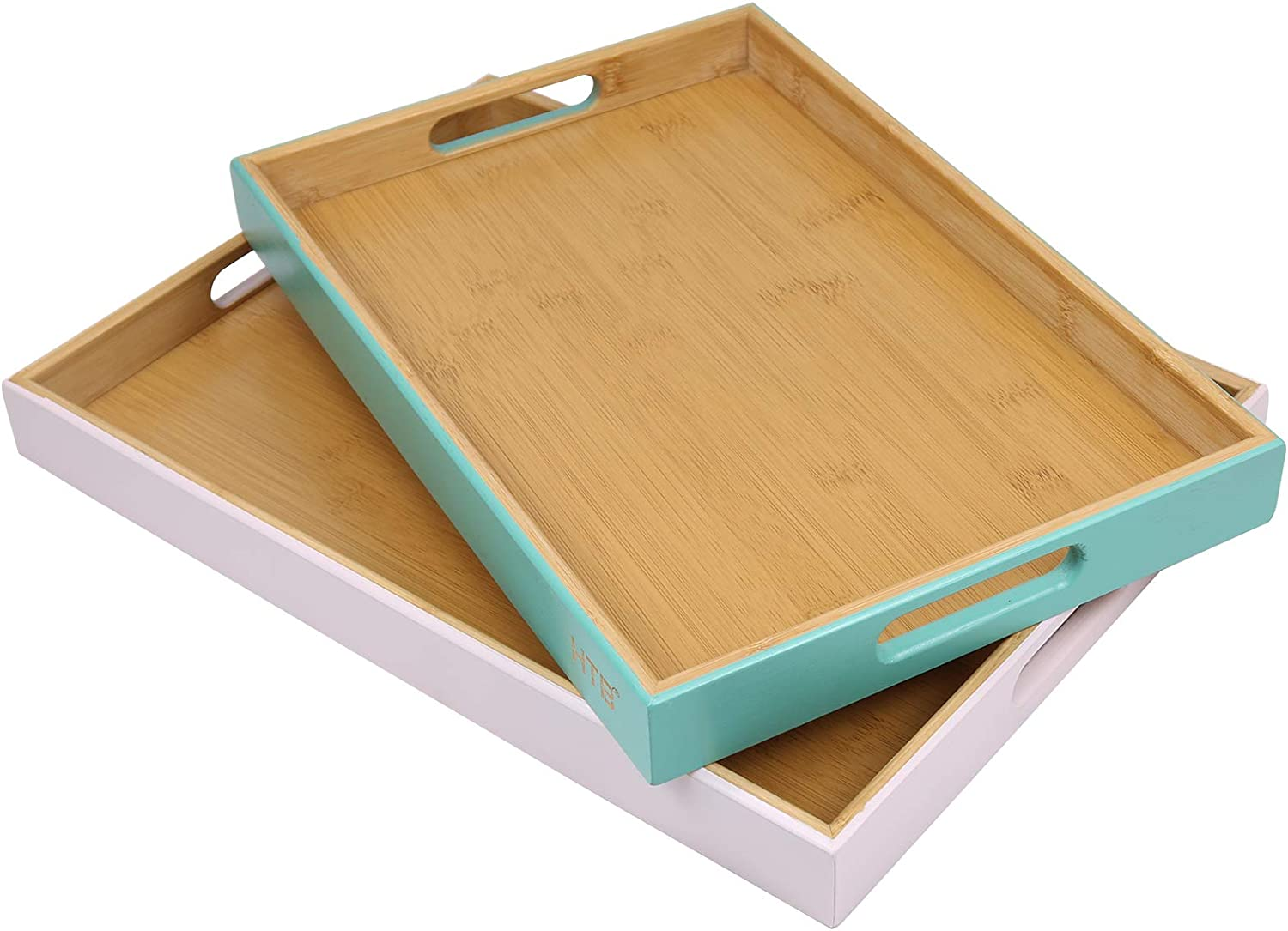 2PCS Rectangular Serving Tray with Handle by HTB, Bamboo Food Trays for Breakfast Party Wedding Coffee Table Ottoman Decor