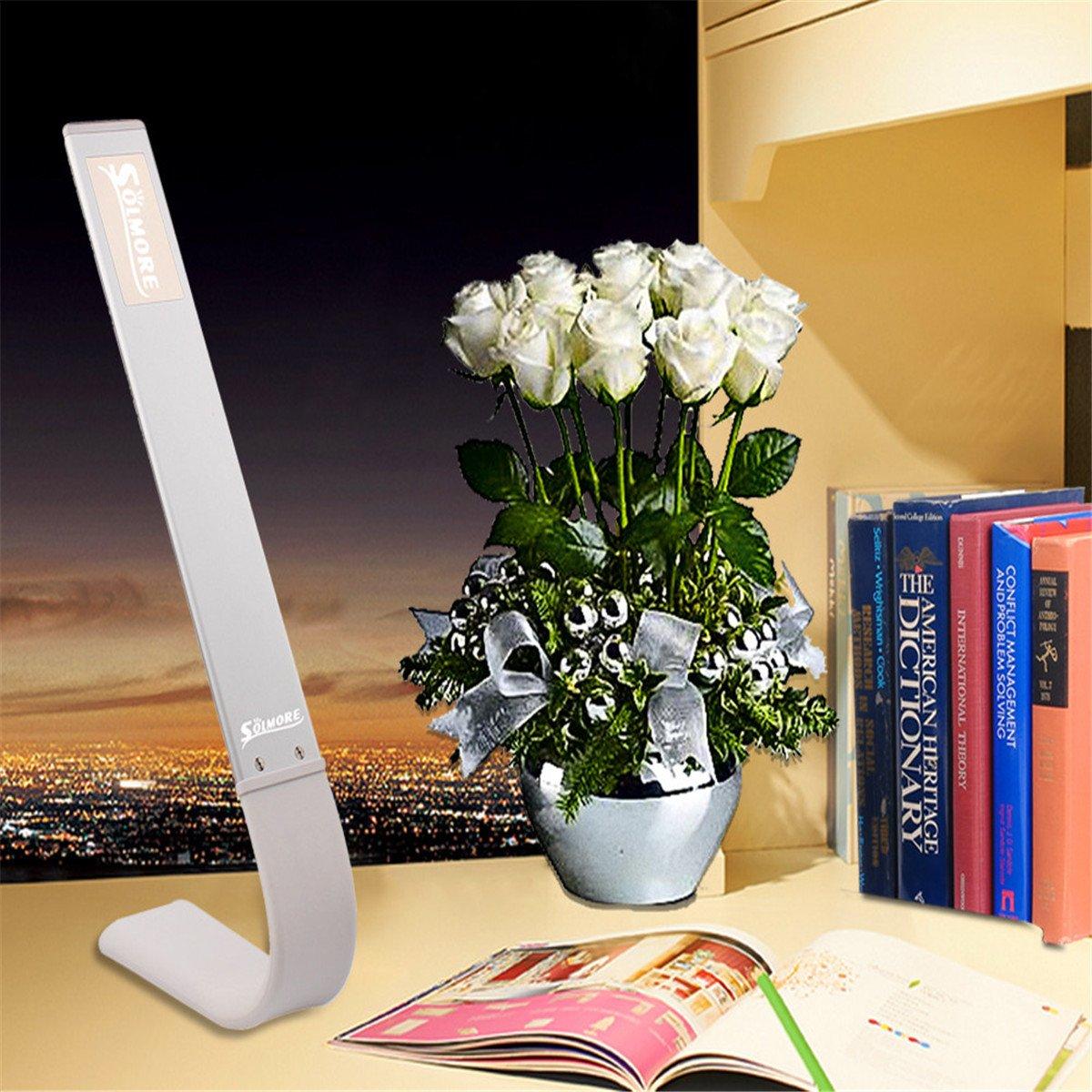 SOLMORE LED Schreibtischlampe Berühren Licht 180 Grad Kreativ Farbtemperatureinstellung Tischleuchte Tageslicht Leseleuchten Hause Büro Reise Lampe