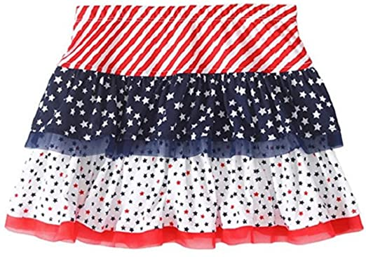 Patriotic Skirt for Girls Red White and Blue with Stars and Stripes