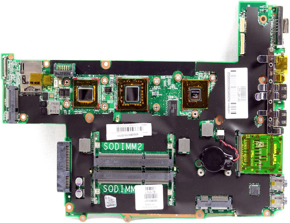 NEW Genuine OEM HP Pavilion DM3 Laptop Notebook Intel Chipset DDR SODIMM Memory Expansion Slot Processor CPU Support System Mainboard Integrated On-Board Video Graphics USB HDMI VGA Card Reader Performance 581467-001 Motherboard 580663-001