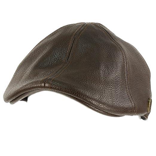 Men s Winter Fall Faux Leather Duckbill Ivy Driver Cabbie Cap Hat ... 536b46913d9