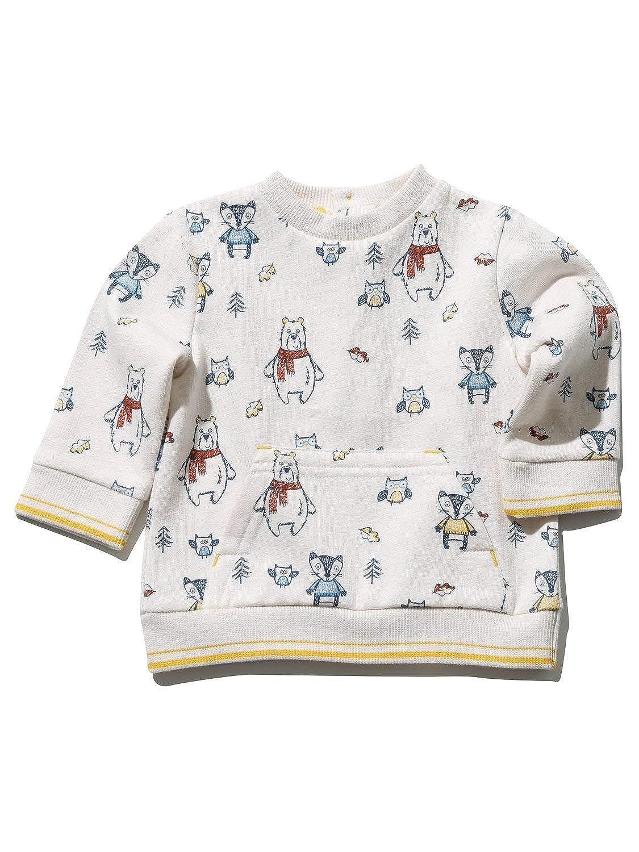M& Co Baby Boy Cream Long Sleeve Bear Animal Print Rib Trim Front Pocket Sweater Top