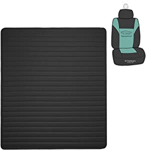 """FH Group F16500 Deluxe Heavy-Duty Faux Leather Flat Stripe Multi-Purpose Cargo Liner 46"""" (Black) with Gift - Universal Fit for Trucks, SUVs, and Vans"""