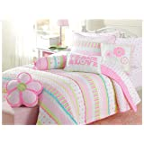 Cozy Line Home Fashions 6-Piece Pink Greta Pastel Polka Dot Floral Stripe Cotton Bedspread Bedding Set, includes 1 Quilt, 2 Shams, 3 Decorative Pillows, Christmas Gifts for Kids, Girl, Full/Queen Size