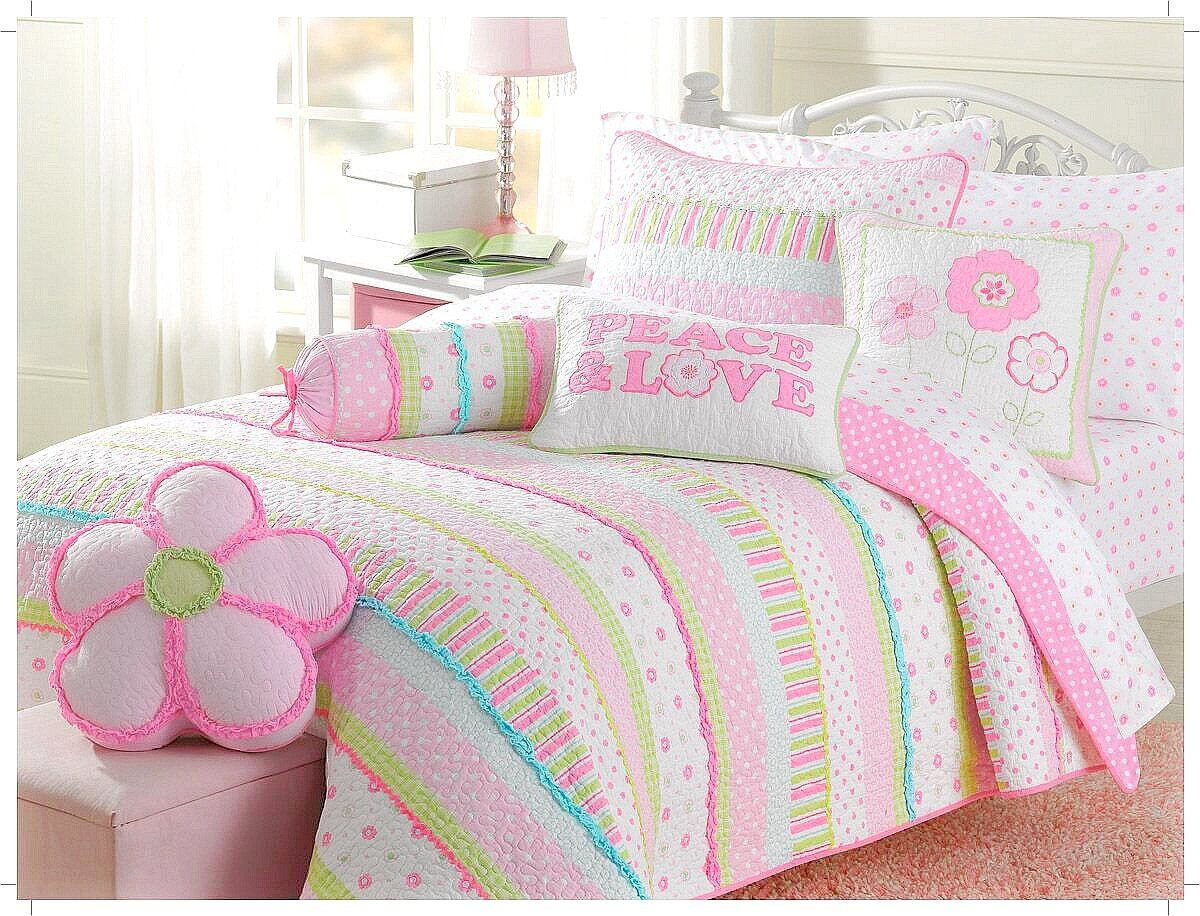 Cozy Line Home Fashions 5-Piece Pink Greta Pastel Polka Dot Floral Stripe Cotton Bedspread Bedding Set, includes 1 Quilt, 1 Shams, 3 Decorative Pillows, Christmas Gifts for Kids, Girls, Twin Size