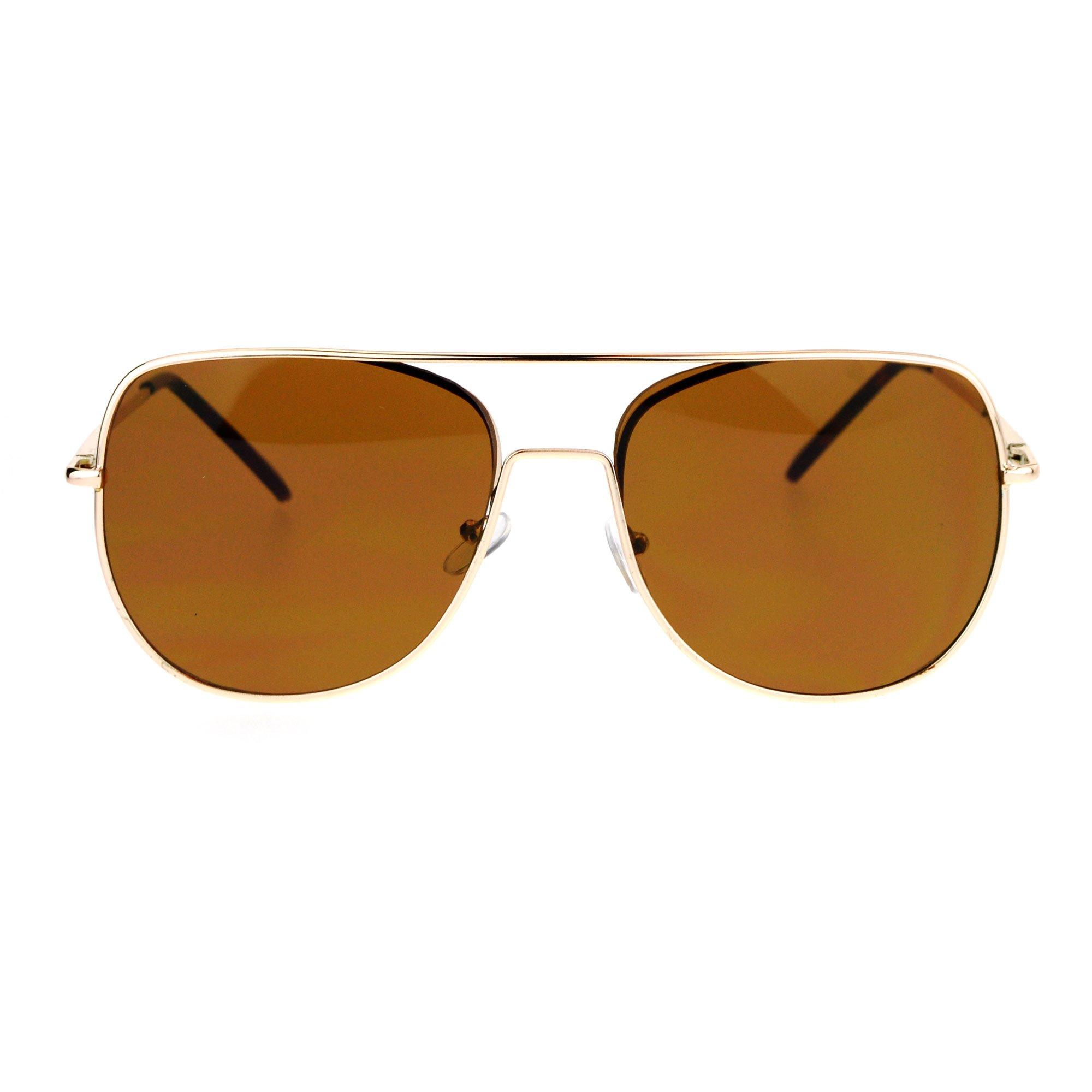 SA106 Mens Expose Lens Unique Flat Top Metal Pilot Sunglasses Gold Brown by SA106