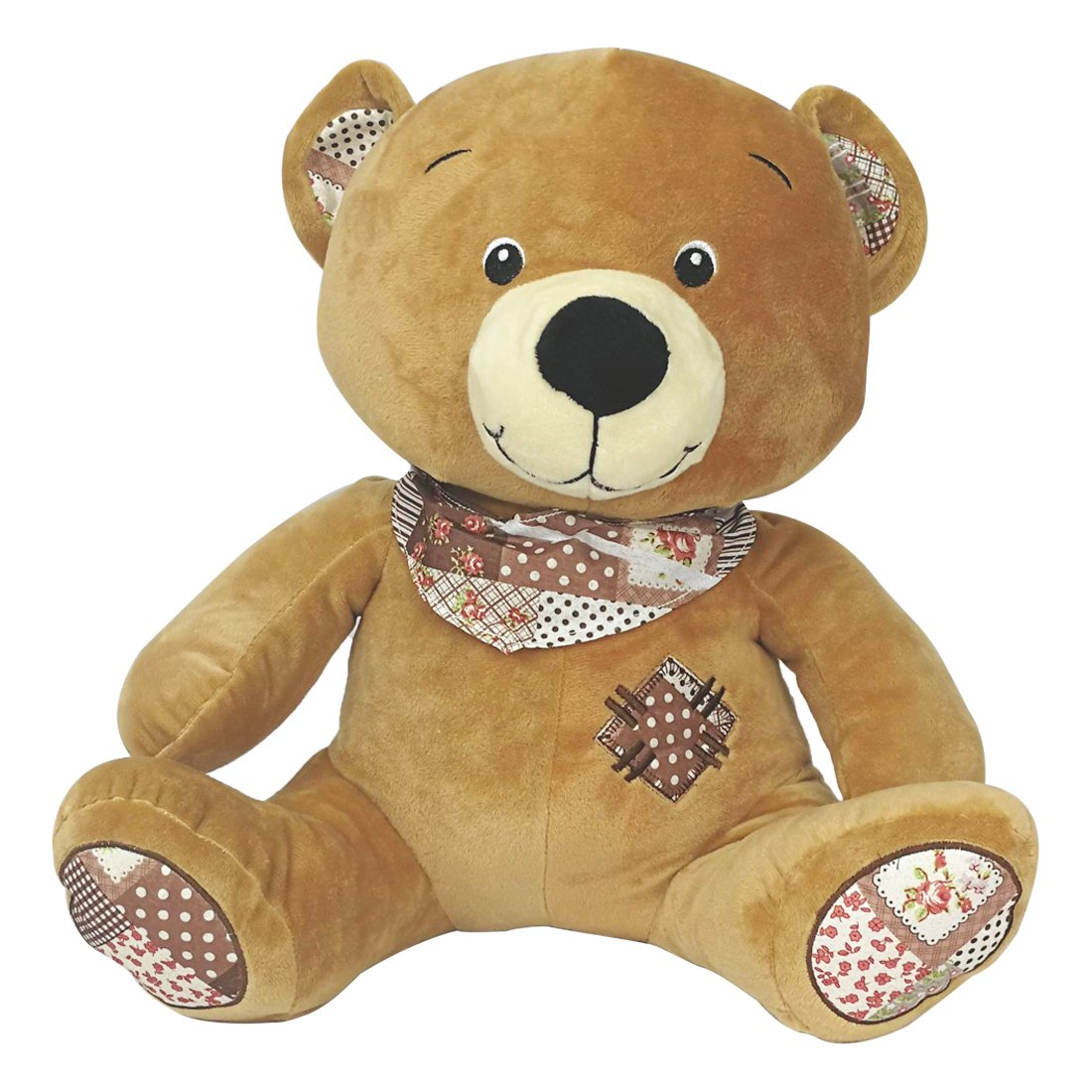 Buy My Baby Excels Teddy Bear with Muffler and Printed Ears Plush |  Imported Premium Quality | Soft Toy for Kids of Age 1 Year and Above | Light  Brown Colour |