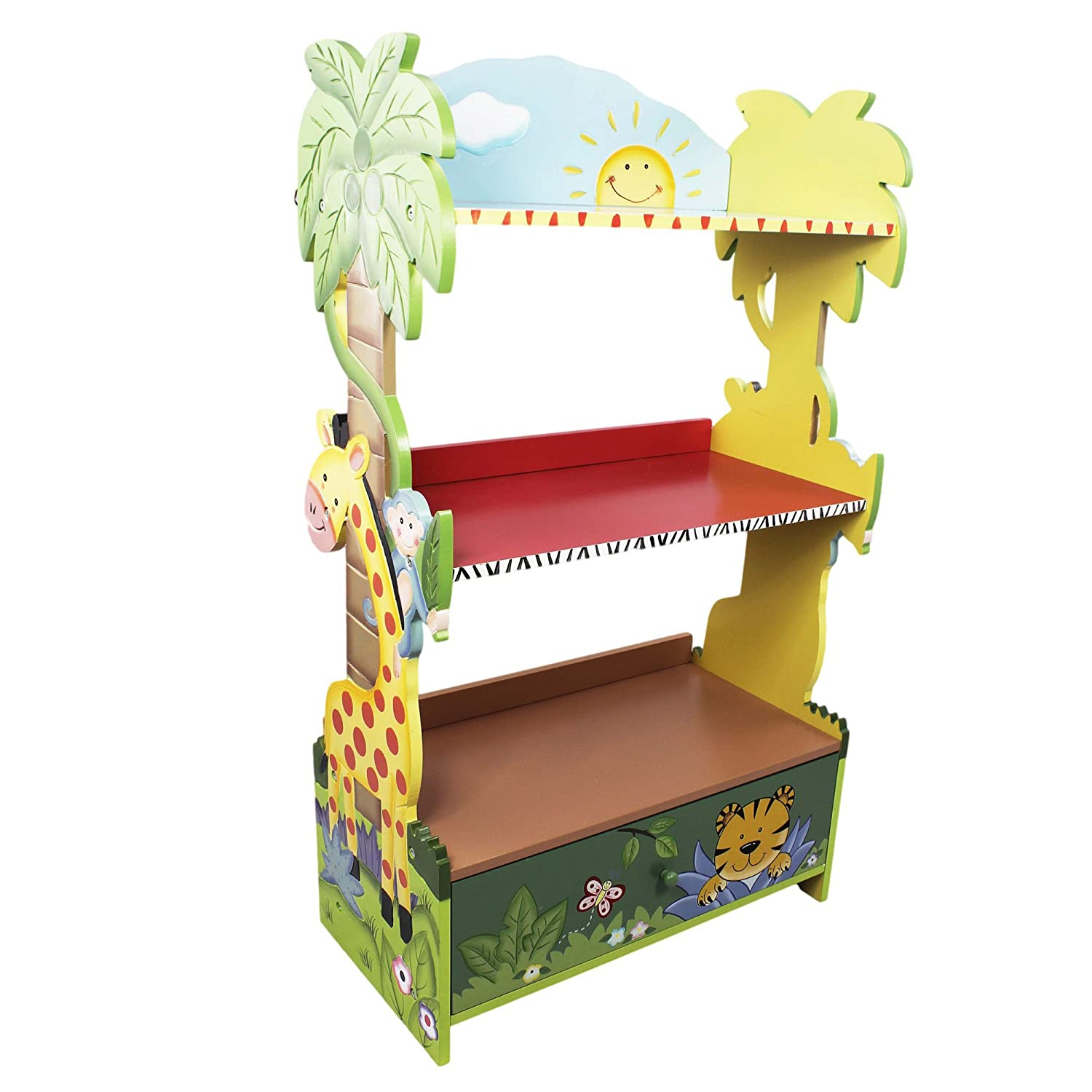 Amazon Fantasy Fields W 8268A Sunny Safari Hand Crafted Kids Wooden Bookshelf Green 219 X 115 38 Toys Games