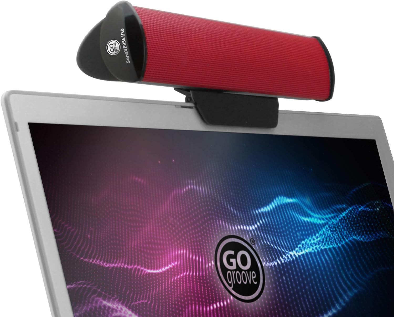 GOgroove SonaVERSE Altavoces PC Barra de Sonido - Diseño de Altavoz Ordenador Externo Portátil con Clip para Monitor, un Cable para Entrada de Audio Digital y Alimentación (Rojo)