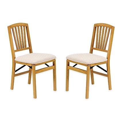 Merveilleux Traditional Styling Decorative Slat Back Folding Chair In Oak Finish, Set  Of 2