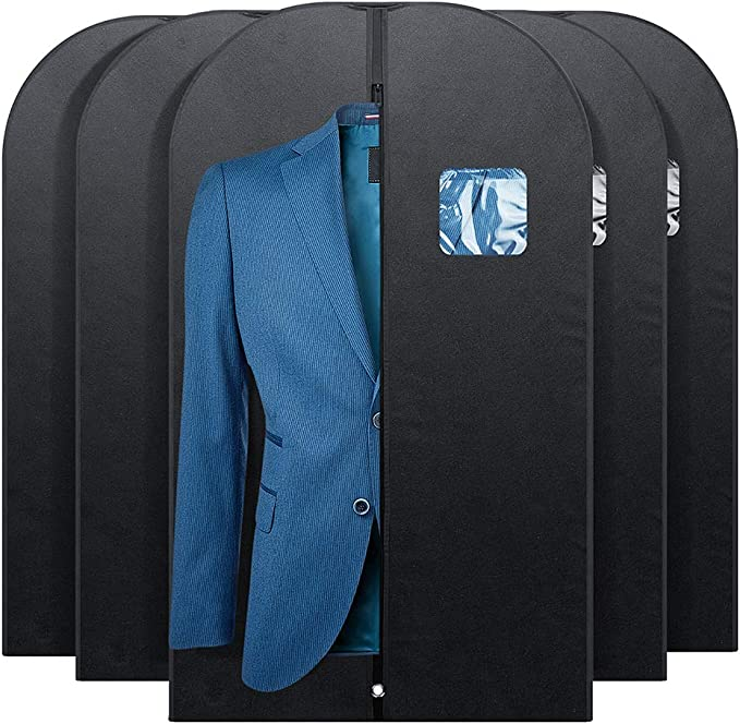 black garment bag with transparent pocket